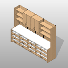 Extra Wide Laminate Pharmacy Casework Kit Option 2 Small