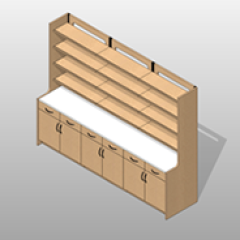 Extra Wide Laminate Pharmacy Casework Kit Option 6 Small