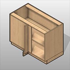 Full Corner Plastic Laminate Base Cabinet Right Opening Small