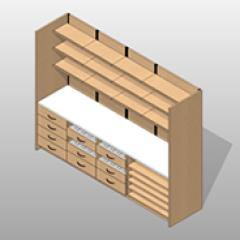 Laminate Extra Wide Pharmacy Casework Kit Option 4 Small