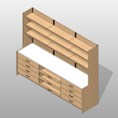 Laminate Extra Wide Pharmacy Casework Kit Option 5 Small