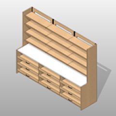 Laminate Extra Wide Pharmacy Casework Kit Option 7 Small