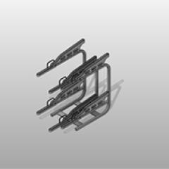 Powder Coated Steel Multi-Level Fixed Staggered Bike Rack Small
