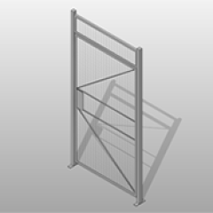 Powder Coated Steel Single Hinged Door Wire Partition Small