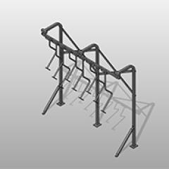 Sliding Hook- Floor Mounted Steel Bike Rack Galvanized Steel Small