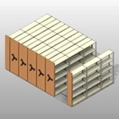 Standard Four Post Mobile High Density Shelving Small